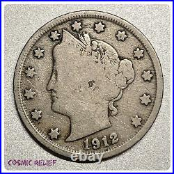 1912-S Liberty V Nickel Key Date in the Series. Very Good Condition
