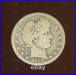 1913-S Barber Quarter Key Date Very Good 40,000 Mtg San FranciscoCP2524