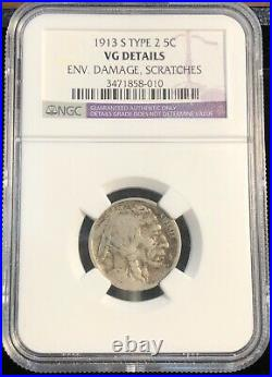 1913-S Buffalo Nickel. Type 2. NGC Very Good Details Env Damage, Scratches