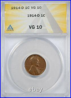 1914 D 1C Lincoln Wheat Cent ANACS VG 10 Very Good to Fine Denver Mint Key Date