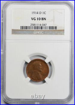 1914 D 1c Lincoln Wheat Cent NGC VG 10 Very Good to Fine Key Date Denver MInt