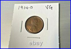 1914 D Lincoln Cent Wheat Penny- Denver, Very Good Details