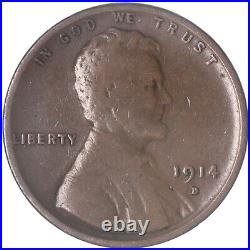 1914 D Lincoln Wheat Cent Very Good Penny VG See Pics H227