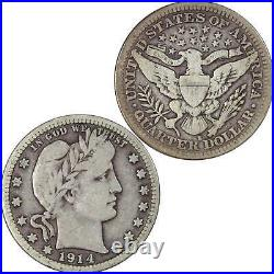1914 S Barber Quarter VG Very Good 90% Silver 25c US Type Coin Collectible