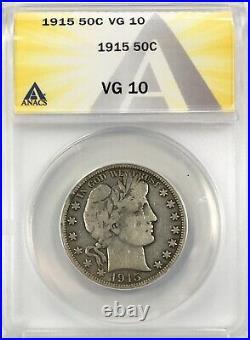 1915 Barber Half Dollar Silver 50C Circulated Very Good ANACS VG10