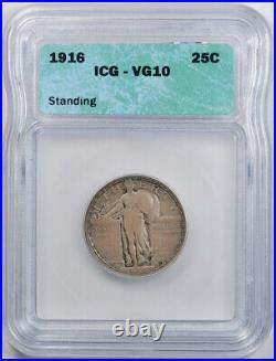1916 25C Standing Liberty Quarter ICG VG 10 Very Good to Fine Key Date Origin