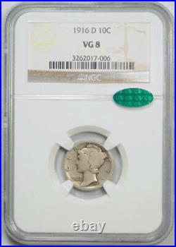 1916 D 10C Mercury Dime NGC VG 8 Very Good Denver Mint Key Date CAC Approved