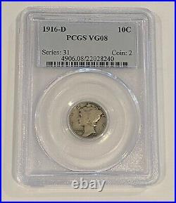 1916 D 10C Mercury Dime PCGS VG 8 Very Good Denver Mint Key Date