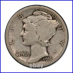 1916 D 10C Mercury Dime PCGS VG 8 Very Good Denver Mint Key Date Full Rims