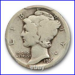 1916 D 10C Mercury Dime PCGS VG 8 Very Good Full Rims Key Date Cert#9602