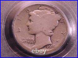 1916-D Mercury Dime, PCGS Good 6. Almost Very Good in Detail. Key Date