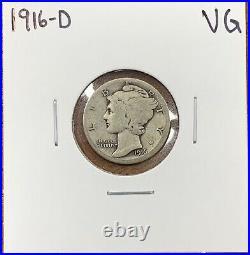 1916-D Mercury Dime Very Good VGKey Date
