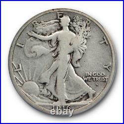 1916 S 50C Walking Liberty Half Dollar ANACS VG 10 Very Good to Fine Key Date