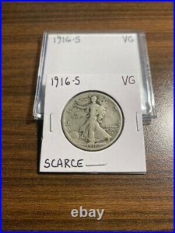 1916-S Walking Liberty Silver Half Dollar 50C VERY GOOD (VG) Walker