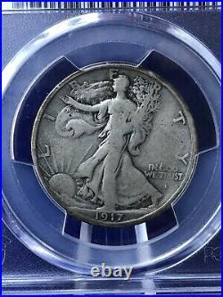 1917-S OBVERSE MINT MARK WALKING LIBERTY HALF DOLLAR 50c PCGS VG8 VERY GOOD