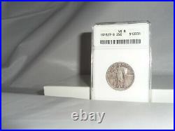 1918/7-S US 25c Silver Standing Liberty Quarter ANACS VG 8 Very Good Overdate
