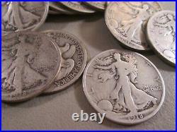1918-d Walking Liberty Half Dollar Roll 20 Coins Grade Very Good