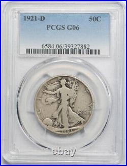 1921 D 50C Walking Liberty Half Dollar PCGS G 6 Good to Very Good Key Date