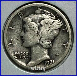 1921 D Very Good VG Mercury Silver US Dime 10C