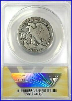 1921-D Walking Liberty Half Dollar Silver 50C Circulated Very Good 8 ANACS VG8