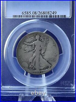 1921-S WALKING LIBERTY HALF DOLLAR 50c SEMI-KEY COIN PCGS VG 8 VERY GOOD