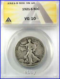 1921-S Walking Liberty Half Dollar Silver 50C Circulated Very Good ANACS VG10