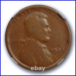 1922 1c No D Strong Reverse Lincoln Wheat Cent NGC VG 8 BN Very Good Key Vari