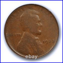 1922 No D 1C Strong Reverse Lincoln Wheat Cent ANACS VG 10 Very Good to Fine