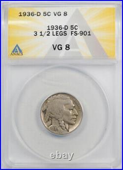 1936 D 5C Three 1/2 Legged Buffalo Nickel ANACS VG 8 Very Good 3 And Half Legs