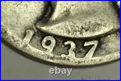 1937 Washington Silver Quarter Double Die Obverse Very Good Condition FS-101