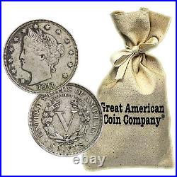 Bag of 500 Liberty Nickels Circulated Condition