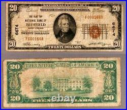 Bluefield WV $20 1929 T-1 National Bank Note Ch #6674 Flat Top NB Very Good