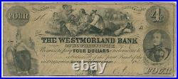 Canada Westmorland Bank Of New Brunswick 4 Dollars 1854 9951 Pmg 10 Very Good