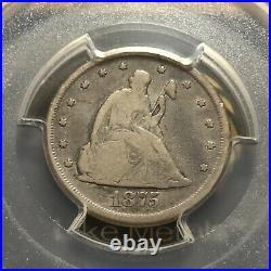 Carson City 1875-CC PCGS VG08 Twenty Cent 20c Better Date VG-08 Very Good