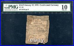 Cc-19 February 17, 1776 $1/6 Continental Currency Note Pmg Very Good-10
