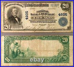 Chicago IL $20 1902 PB National Bank Note Ch #4605 NB of the Republic Very Good