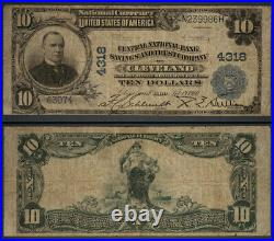 Cleveland OH $10 1902 PB National Bank Note Ch #4318 Central NBS and TC Very Goo