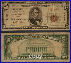 Columbus OH $5 1929 T-1 National Bank Note Ch #7745 Huntington NB Very Good
