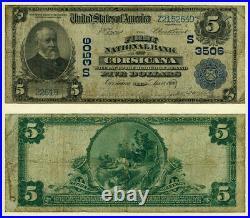 Corsicana TX $5 1902 PB National Bank Note Ch #3506 First NB Very Good+