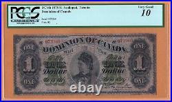 Dominion Canada $1 Dollar Scalloped Toronto VG PCGS-10 1878 P-17b DC-8b Banknote