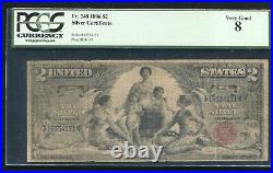 Fr. 248 1896 $2 Two Dollars Educational Silver Certificate Pcgs Very Good-8