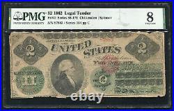 Fr. 41 1862 $2 Two Dollars Legal Tender United States Note Pmg Very Good-8