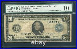Fr. 992 1914 $20 Star Frn Federal Reserve Note St. Louis, Mo Pmg Very Good-10