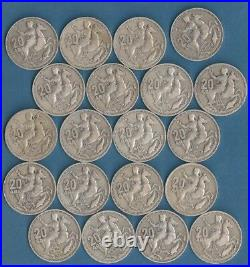Greece 20 drachmai 1960, 20 coins, King Paulos. Silver. 835 150 gr. VERY GOOD