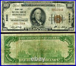 Honolulu HI $100 1929 T-1 National Bank Note Ch #5550 Bishop First NB Very Good+