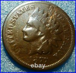 Key Date! 1877 U. S. Indian Head Penny Good Very Good Condition Blemish