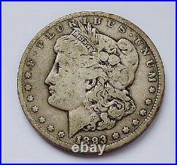 Key Date! 1893-cc U. S. Morgan Silver Dollar Very Good Plus Condition