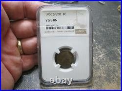 Key Date Us 1909 S Vdb Lincoln Cent Ngc Vg8 Very Good Condition