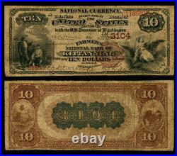 Kittanning PA $10 1882 BB National Bank Note Ch #3104 Farmers NB Very Good+