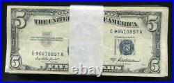 Lot Of(100) 1953 $5five Dollars Blue Seal Silver Certificates Very Good-veryfine